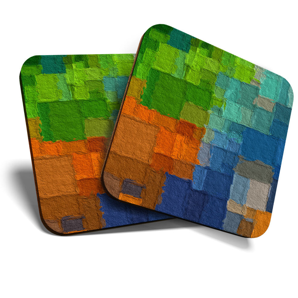 Great Coasters (Set of 2) Square / Glossy Quality Coasters / Tabletop Protection for Any Table Type - Abstract Painting Paint Art  #3912