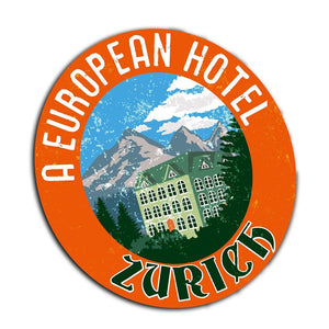 2 x Zurich Ski Travel Logo Vinyl Sticker #4004