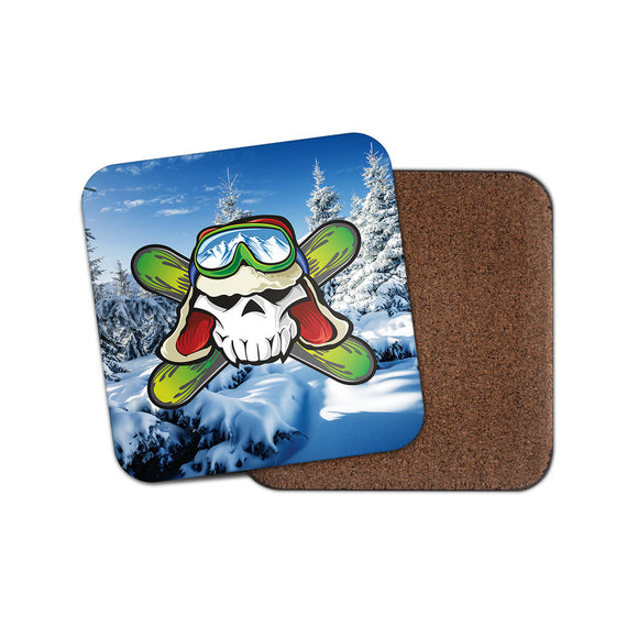 Ski Snowboard Goggles Drinks Coaster Mat Square Cork Backed Tea Coffee #4010
