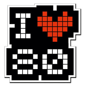 2 x I love 80 80's Heart Retro Vinyl Sticker #4015