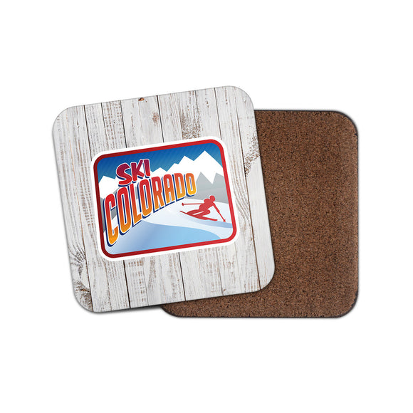 Ski Colorado Retro Skiier Drinks Coaster Mat Square Cork Backed Tea Coffee #4016