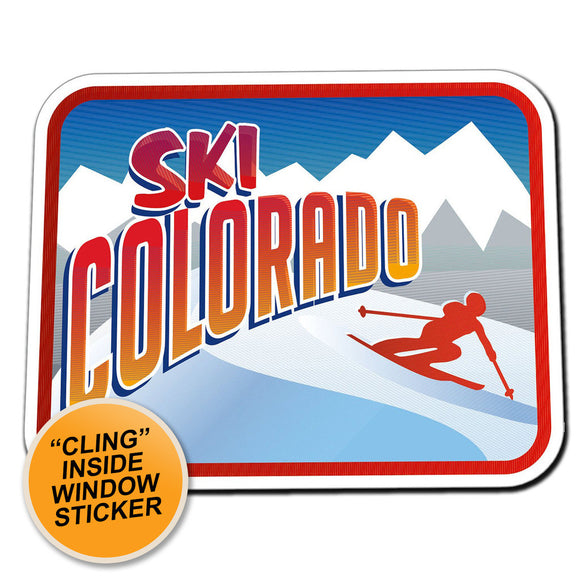 2 x Ski Colorado Retro Skiier WINDOW CLING STICKER Car Van Campervan Glass #4016