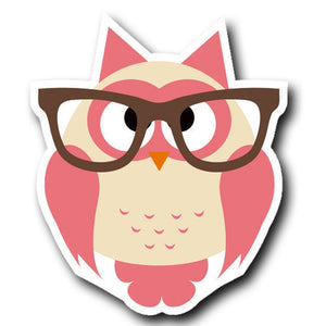 2 x Geek Owl Glasses Pink Vinyl Sticker #4024