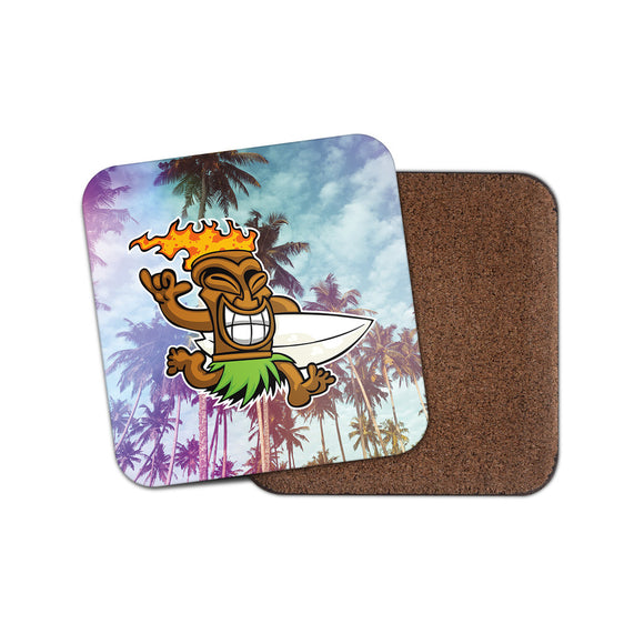 Tiki Surf Hawaii Aloha Coaster Mat Square Cork Backed Tea Coffee #4026