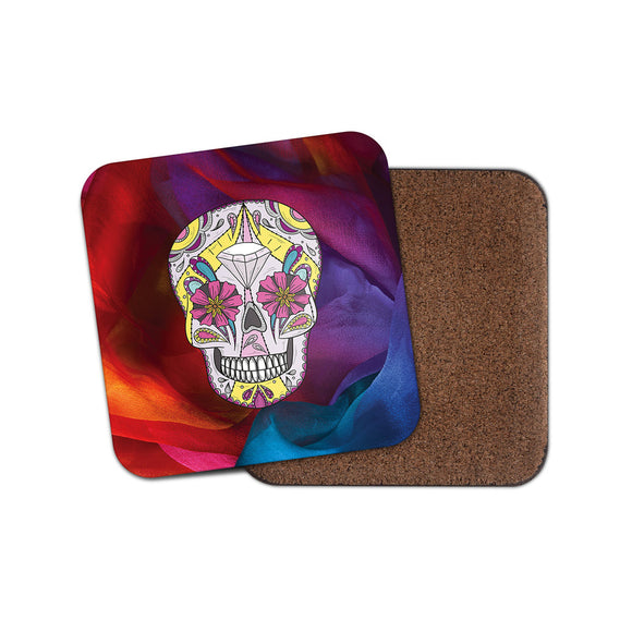 Sugar Skull Flower Art Coaster Mat Square Cork Backed Tea Coffee #4033