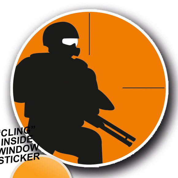 2 x Paintball Army Gun Forces WINDOW CLING STICKER Car Van Campervan Glass #4056