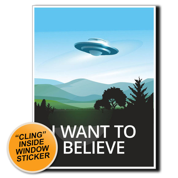 2 x UFO Alien X-Files Area 51 WINDOW CLING STICKER Car Van Campervan Glass #4057