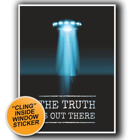 2 x UFO Alien X-Files Area 51 WINDOW CLING STICKER Car Van Campervan Glass #4058