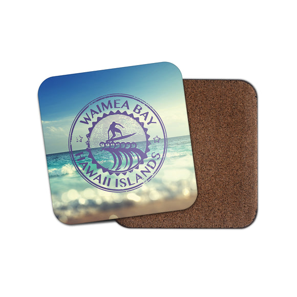 Waimea Bay Hawaii Cork Backed Drinks Coaster for Tea & Coffee #4087