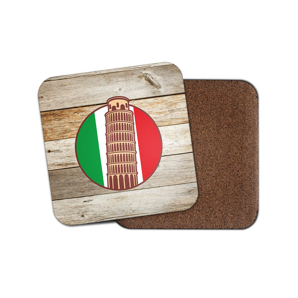Italy Italian Pisa Cork Backed Drinks Coaster for Tea & Coffee #4089