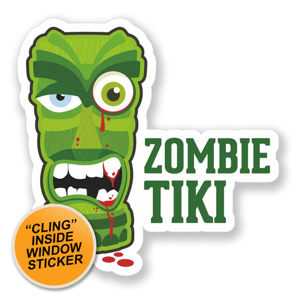 2 x Zombie Tiki Warning WINDOW CLING STICKER Car Van Campervan Glass #4103