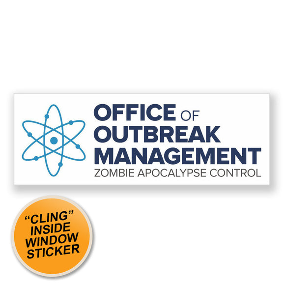 2 x Zombie Outbreak Management WINDOW CLING STICKER Car Van Campervan Glass #4104