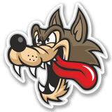2 x Angry Wolf Cartoon Vinyl Sticker #4109