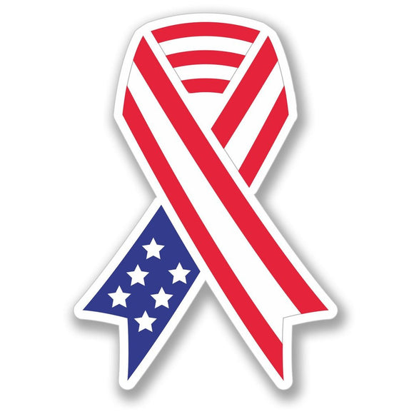 2 x USA Flag Ribbon Army War Memorial Vinyl Sticker #4118