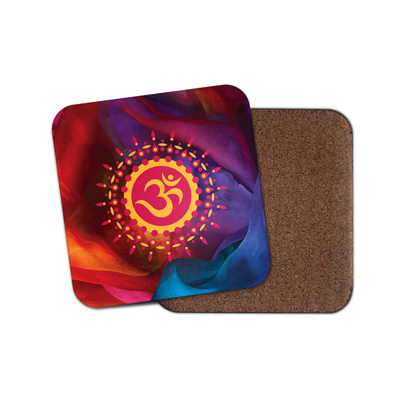 OM Symbol Hindu Cork Backed Drinks Coaster for Tea & Coffee #4123