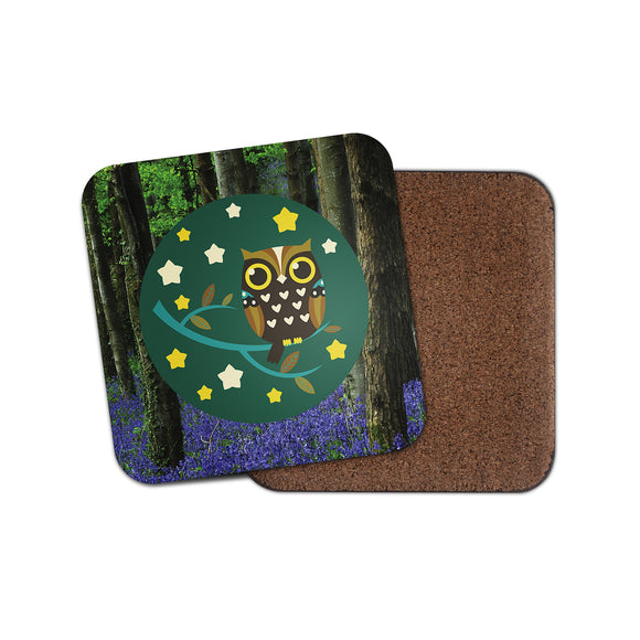 Night Owl Cork Backed Drinks Coaster for Tea & Coffee #4125