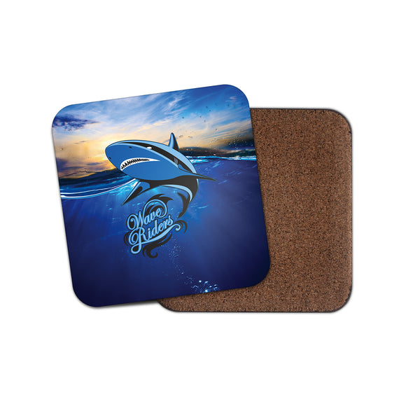 Wave Riders Surf Shark Cork Backed Drinks Coaster for Tea & Coffee #4126