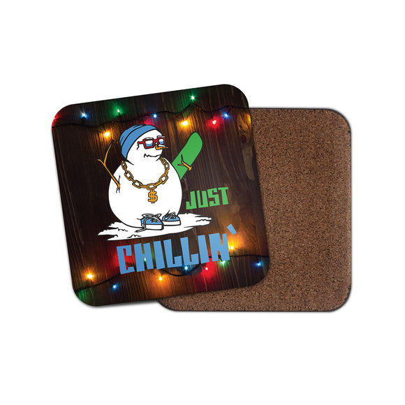 Snowboard Snowman Cork Backed Drinks Coaster for Tea & Coffee #4127