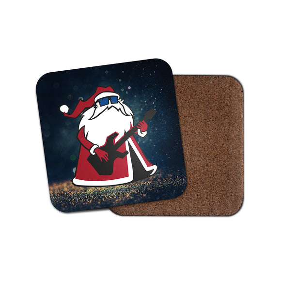Cool Rock Santa Cork Backed Drinks Coaster for Tea & Coffee #4129