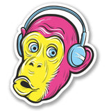 2 x Monkey Headphones Luggage Vinyl Sticker #4133