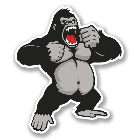 2 x Angry Gorilla Luggage Vinyl Sticker #4136