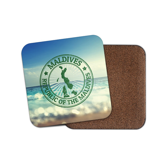Republic of the Maldives Cork Backed Drinks Coaster for Tea & Coffee #4137