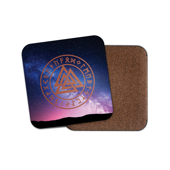 Valknut Rune Odin Trinity Symbol Cork Backed Drinks Coaster for Tea & Coffee #4139