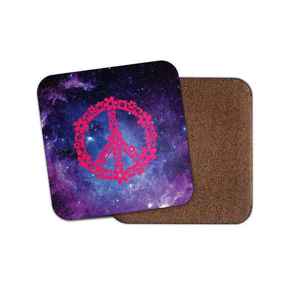 Pink Flowery Peace Symbol Cork Backed Drinks Coaster for Tea & Coffee #4148