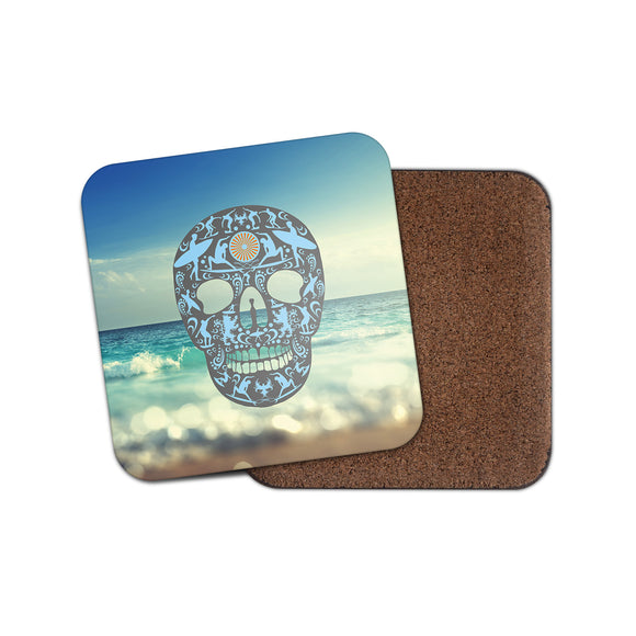 Surf Sugar Skull Cork Backed Drinks Coaster for Tea & Coffee #4149