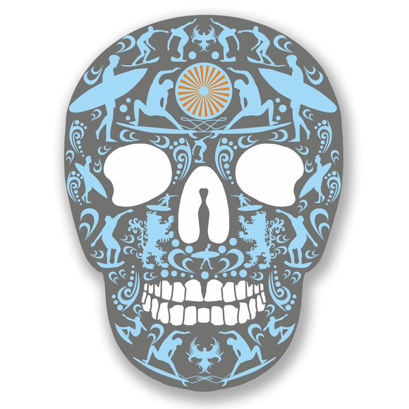 2 x Surf Sugar Skull Vinyl Sticker #4149