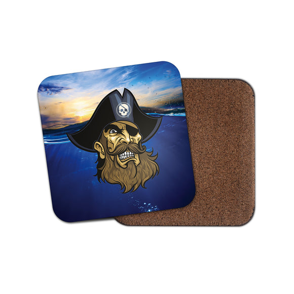 Bearded Pirate Jolly Roger Cork Backed Drinks Coaster for Tea & Coffee #4152