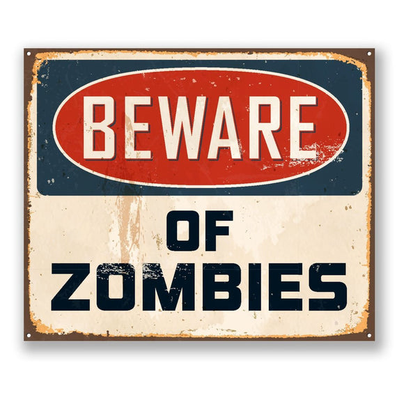 2 x Beware of Zombies Vinyl Sticker #4158