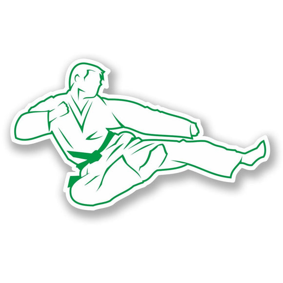 2 x Karate Green Belt Vinyl Sticker #4179