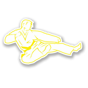 2 x Karate Yellow Belt Vinyl Sticker #4180