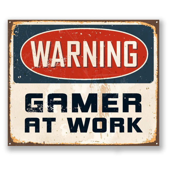 2 x Warning Gamer at Work Vinyl Sticker #4184