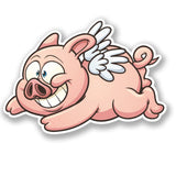 2 x Flying Pig Vinyl Sticker #4197