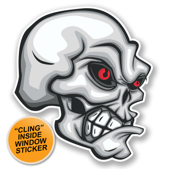 2 x Evil Skull WINDOW CLING STICKER Car Van Campervan Glass #4219