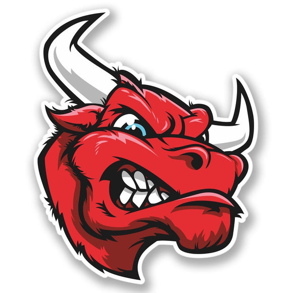 2 x Red Mad Bull Vinyl Sticker #4236