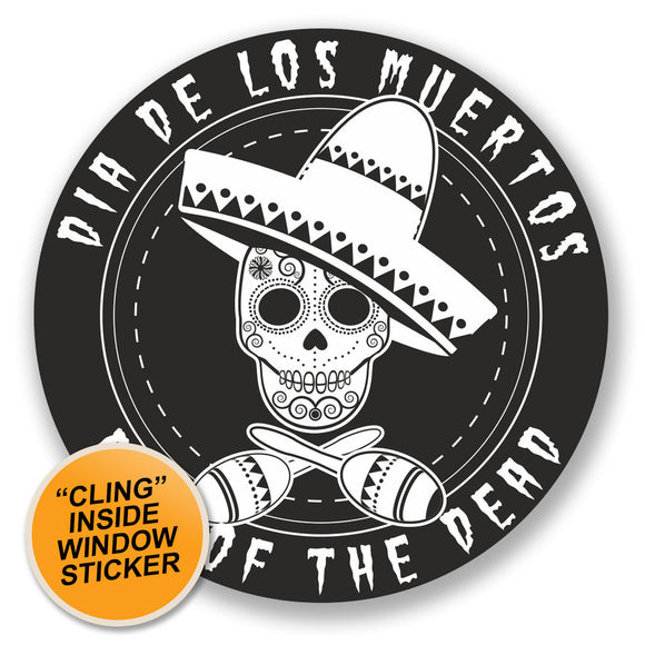 2 x Day of The Dead Sugar Skull WINDOW CLING STICKER Car Van Campervan Glass #4237