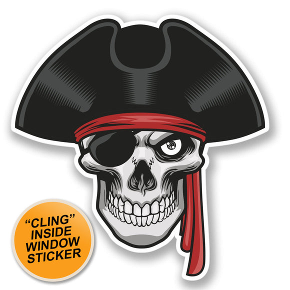 2 x Jolly Roger Skull Travel WINDOW CLING STICKER Car Van Campervan Glass #4255