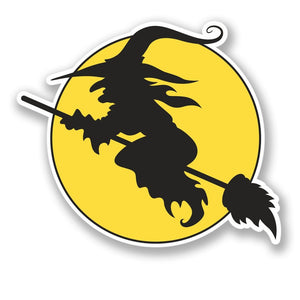 2 x Witch & Broomstick Vinyl Sticker #4273
