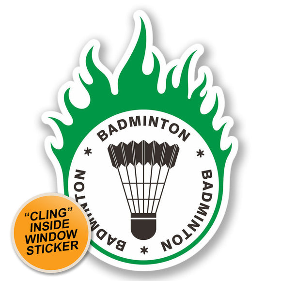 2 x Badminton WINDOW CLING STICKER Car Van Campervan Glass #4279