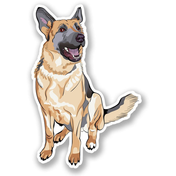 2 x Alsatian German Shepherd Dog Vinyl Sticker #4304