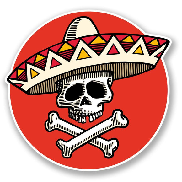 2 x Mexican Sombrero Day of the Dead Vinyl Sticker #4310
