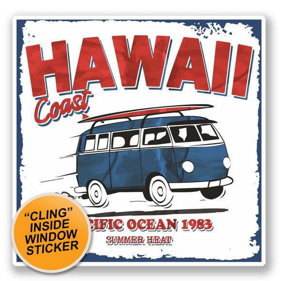 2 x Hawaii Camper Van WINDOW CLING STICKER Car Van Campervan Glass #4311
