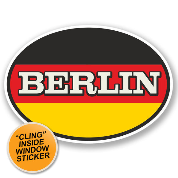 2 x Berlin WINDOW CLING STICKER Car Van Campervan Glass #4342
