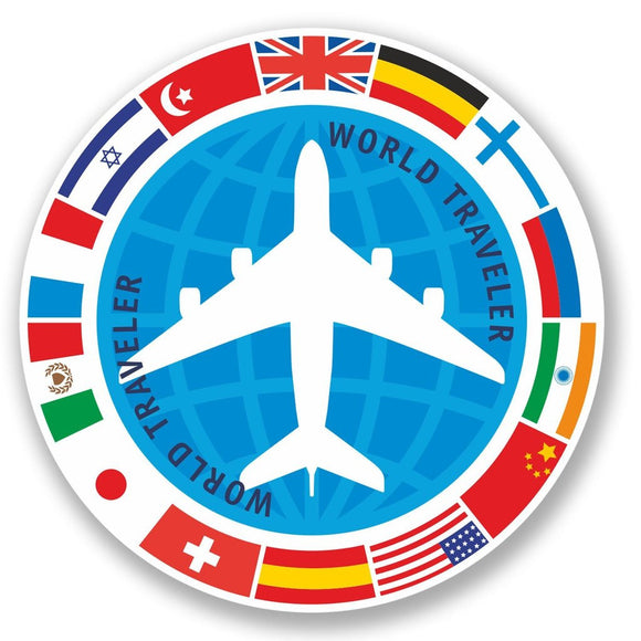 2 x World Traveler Vinyl Sticker #4348