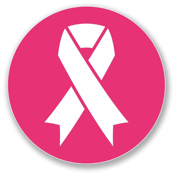 2 x Pink Ribbon Vinyl Sticker #4364