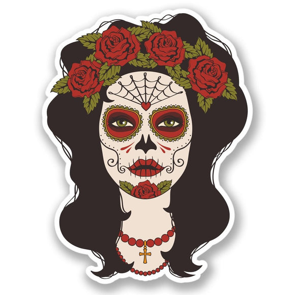 2 x Sugar Skull Rose Lady Vinyl Sticker #4383