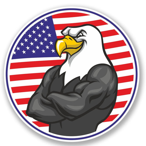 2 x USA Eagle Flag Vinyl Sticker #4389